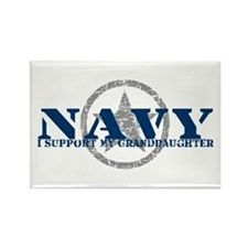 Navy - I Support My Granddaughter Rectangle Magnet