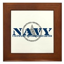 Navy - I Support My Granddaughter Framed Tile