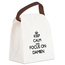 Keep Calm and Focus on Damien Canvas Lunch Bag