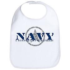 Navy - I Support My Girlfriend Bib