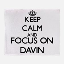 Keep Calm and Focus on Davin Throw Blanket