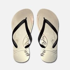Vintage, clef and piano with damasks Flip Flops