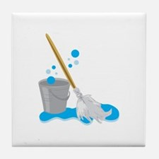 Bucket And Mop Tile Coaster