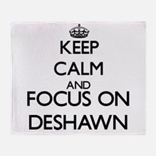 Keep Calm and Focus on Deshawn Throw Blanket