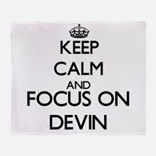 Keep Calm and Focus on Devin Throw Blanket