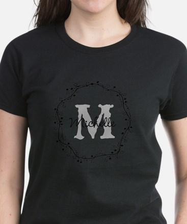 Gray Custom Monogram Name And Letter T-Shirt