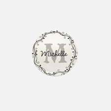 Personalized vintage monogram Mini Button (100 pac