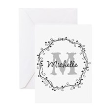 Personalized vintage monogram Greeting Cards