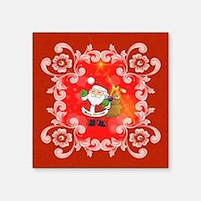 Cute Santa Claus on red background Sticker