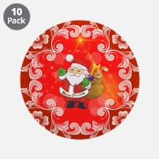 """Cute Santa Claus on red background 3.5"""" Button (10"""