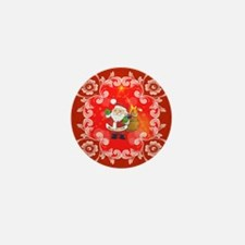 Cute Santa Claus on red background Mini Button (10