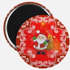 Cute Santa Claus on red background Magnets