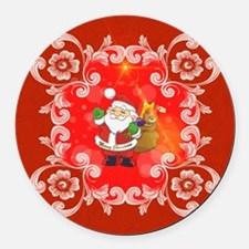 Cute Santa Claus on red background Round Car Magne