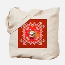 Cute Santa Claus on red background Tote Bag