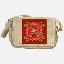 Cute Santa Claus on red background Messenger Bag