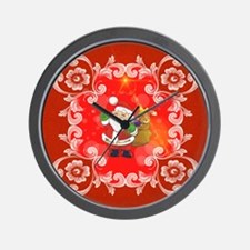 Cute Santa Claus on red background Wall Clock
