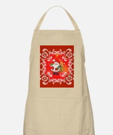 Cute Santa Claus on red background Apron