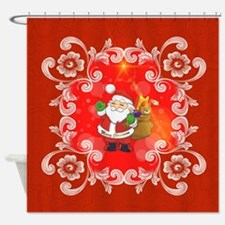 Cute Santa Claus on red background Shower Curtain