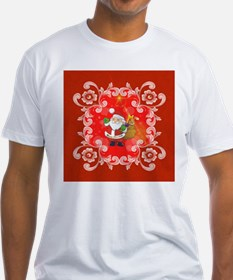 Cute Santa Claus on red background T-Shirt