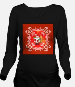 Cute Santa Claus on red background Long Sleeve Mat