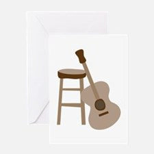 Guitar and Stool Greeting Cards