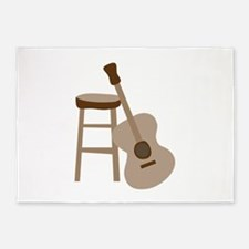 Guitar and Stool 5'x7'Area Rug