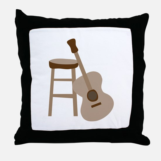 Guitar and Stool Throw Pillow