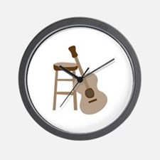 Guitar and Stool Wall Clock