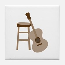 Guitar and Stool Tile Coaster