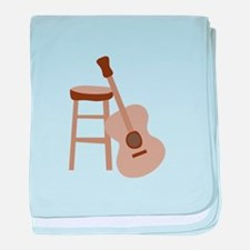 Guitar and Stool baby blanket