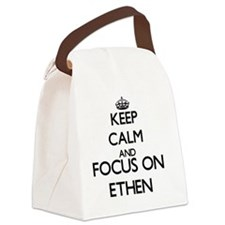 Keep Calm and Focus on Ethen Canvas Lunch Bag