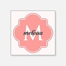 "Light Pink Custom Personali Square Sticker 3"" x 3"""
