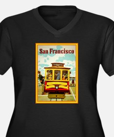 San Francisco Women's Plus Size V-Neck Dark T-Shir