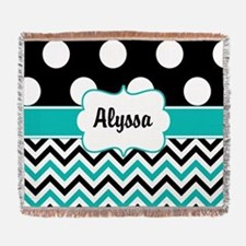 Black Blue Dots Chevron Personalized Woven Blanket