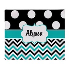 Black Blue Dots Chevron Personalized Throw Blanket
