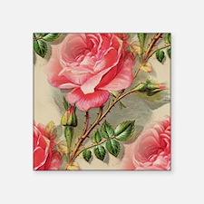 "Pretty Pink Roses  Square Sticker 3"" x 3"""