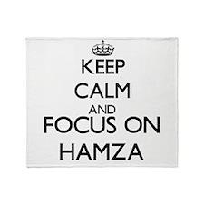 Keep Calm and Focus on Hamza Throw Blanket