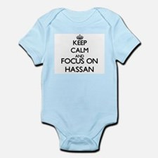 Keep Calm and Focus on Hassan Body Suit