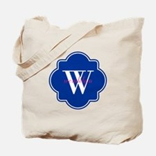 Blue Custom Personalized Monogram Tote Bag
