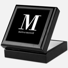 Black and White Monogram Name Keepsake Box