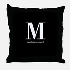 Black and White Monogram Name Throw Pillow