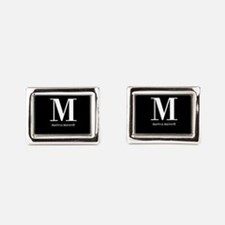 Black and White Monogram Nam Rectangular Cufflinks