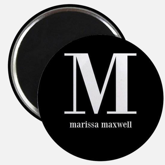 """Black and White Monogram Na 2.25"""" Magnet (10 pack)"""