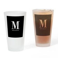 Black and White Monogram Name Drinking Glass