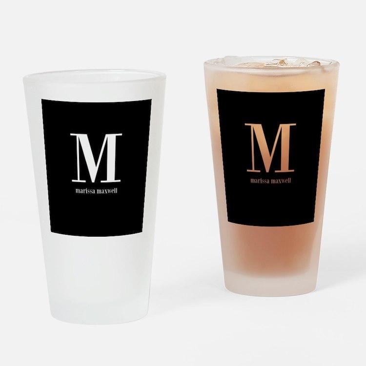 Black and White Monogram Name Drinking Glass