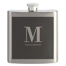 Black and White Monogram Name Flask