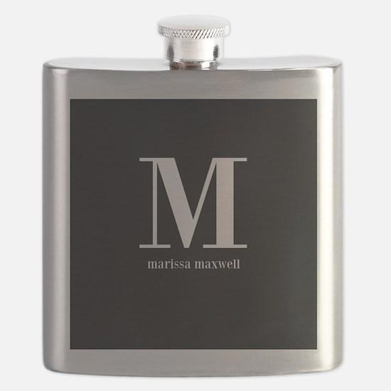 Black and White Monogram Name Flask