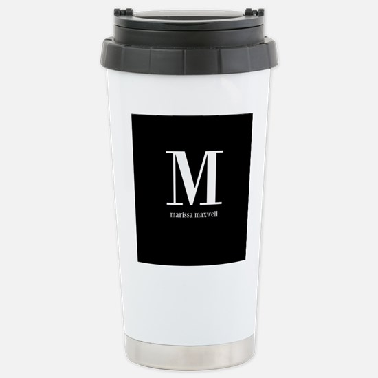 Black and White Monogra Stainless Steel Travel Mug