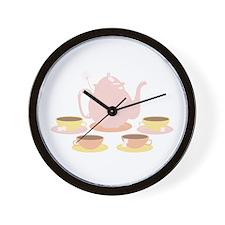 Pink Tea Set Wall Clock