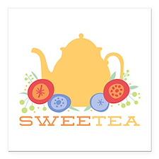 "Sweet Tea Square Car Magnet 3"" x 3"""
